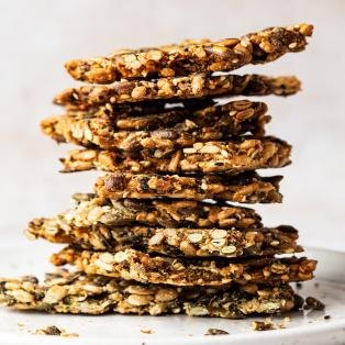 vegan multiseed crackers stack