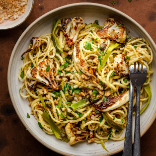 roasted leek cauliflower pasta portion