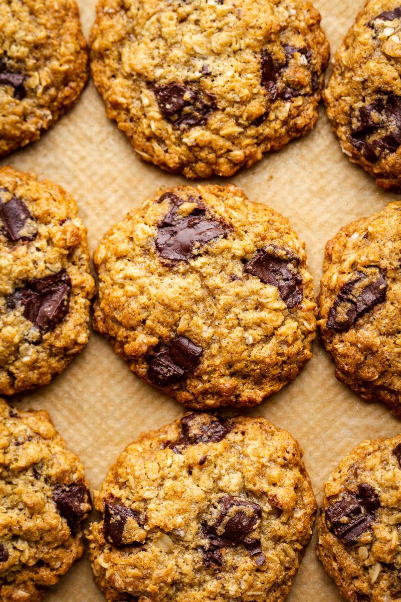 vegan oat cookies close