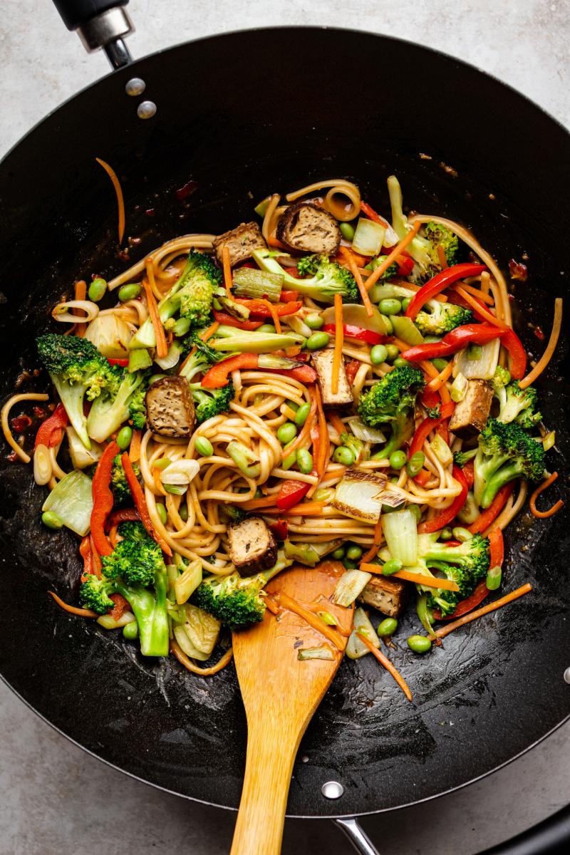 vegan satay noodles wok