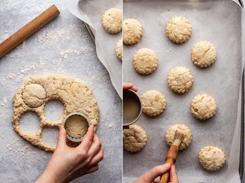 ginger vegan scones cutting
