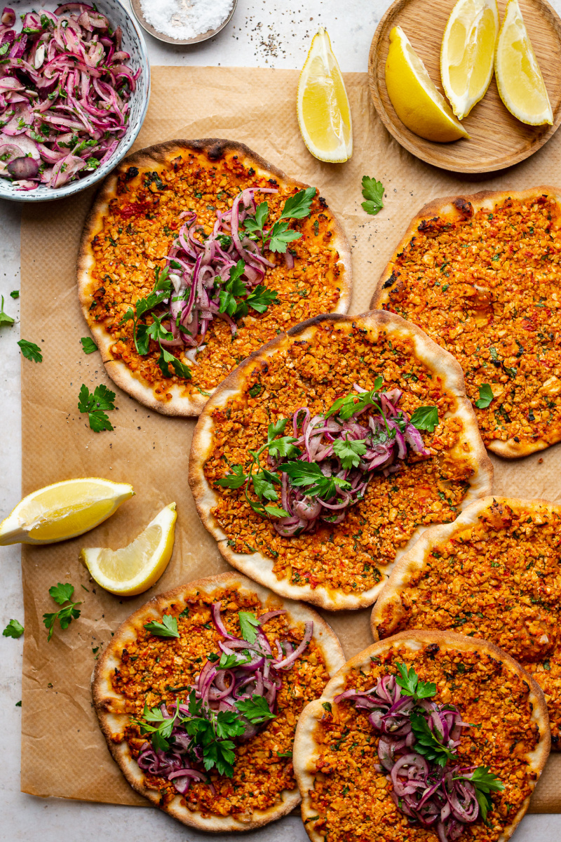 vegan turkish pizza lahmacun top down