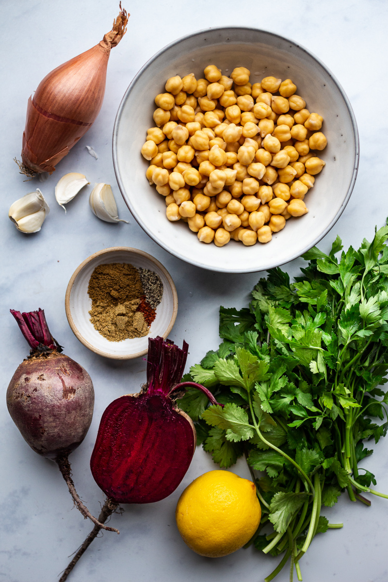 baked beet falafels ingredients
