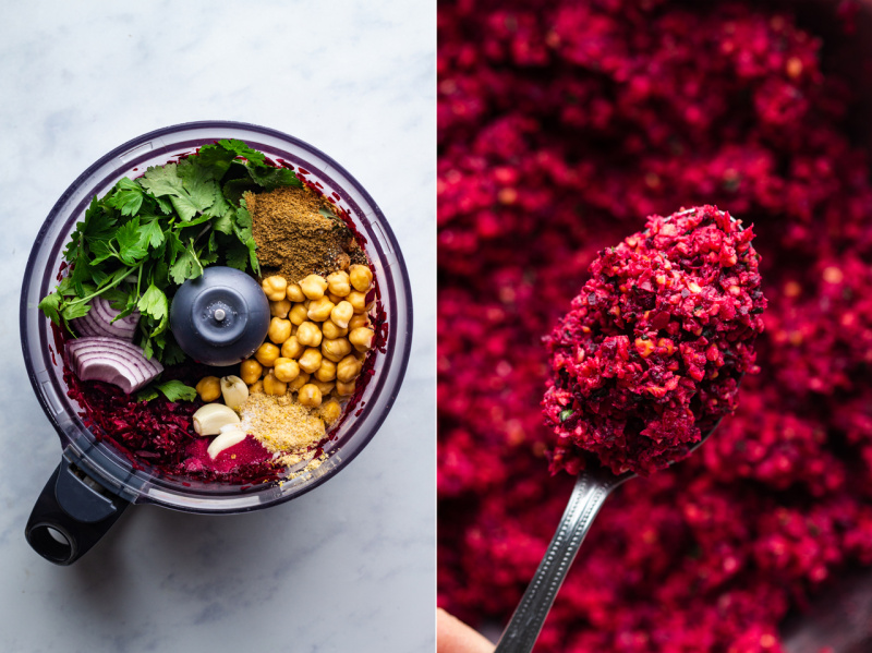 baked beet falafels mixture