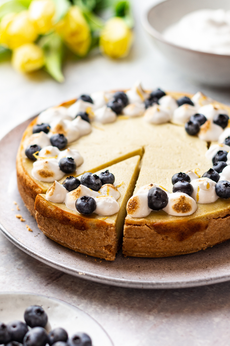 vegan lemon cheesecake backlit