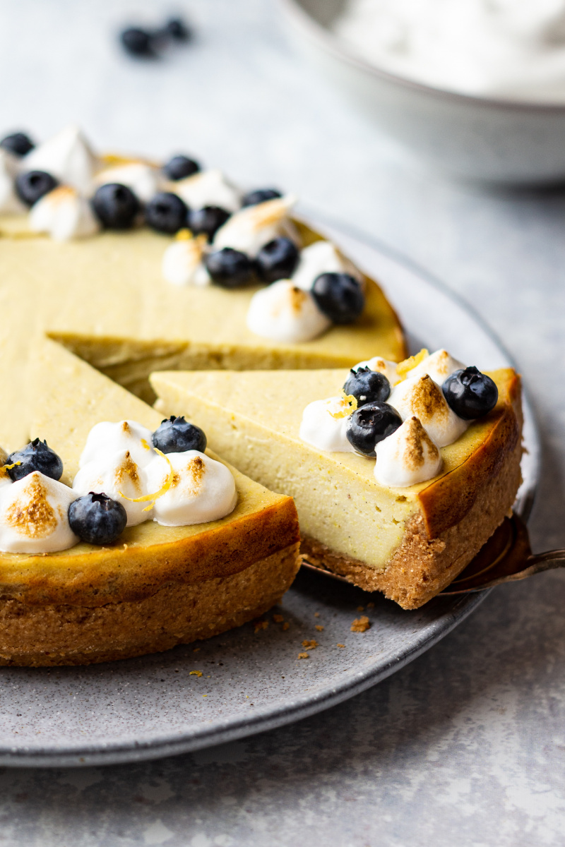 vegan lemon cheesecake slice out