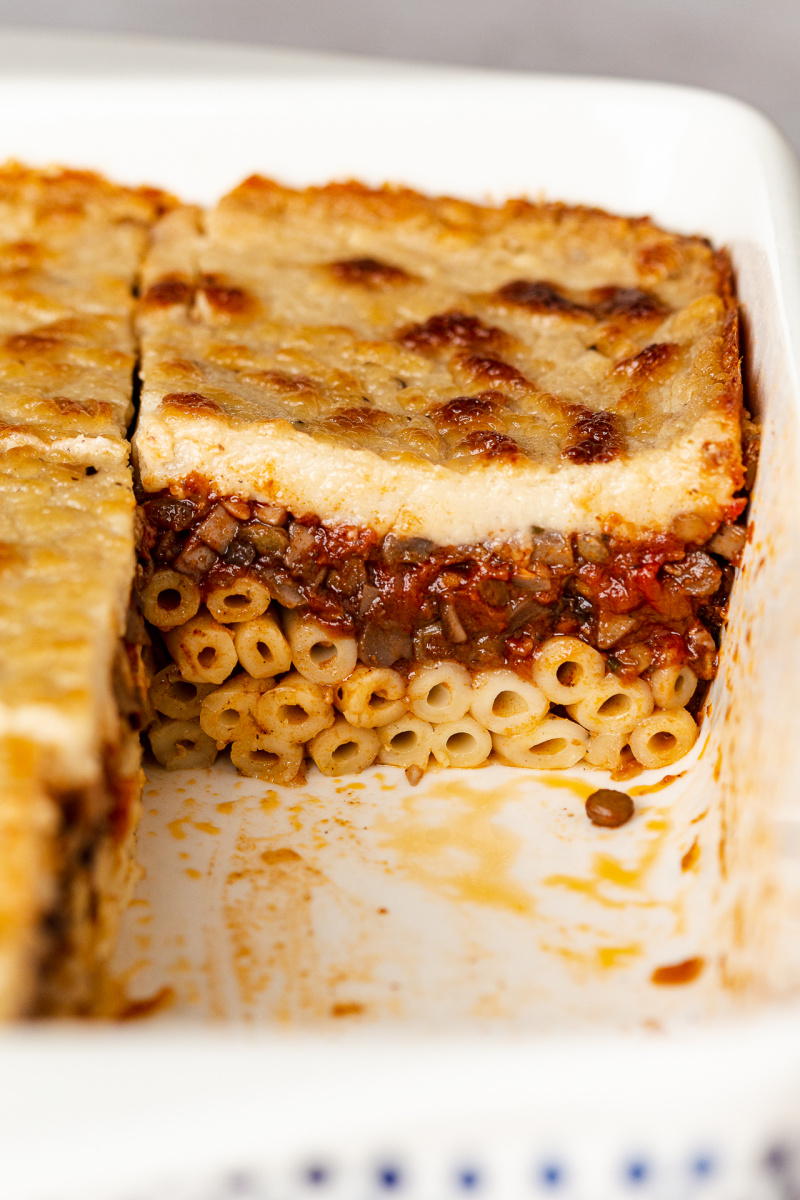 vegan pastitsio cross section