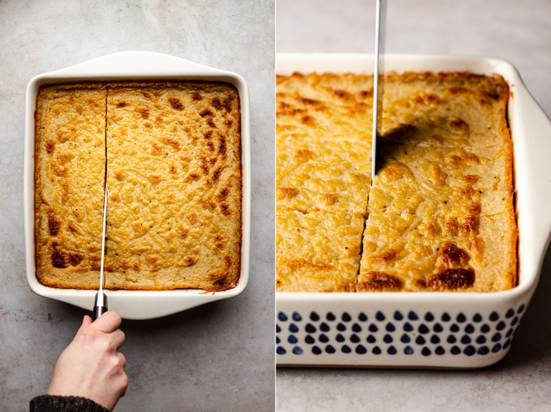 vegan pastitsio cutting