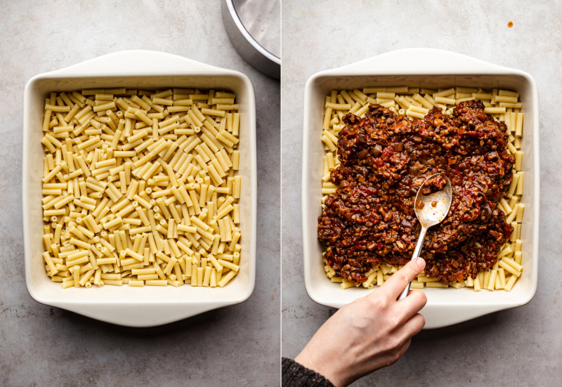 vegan pastitsio pasta ragu layers