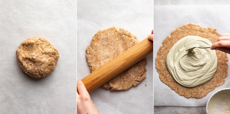 vegan zucchini galette rolling