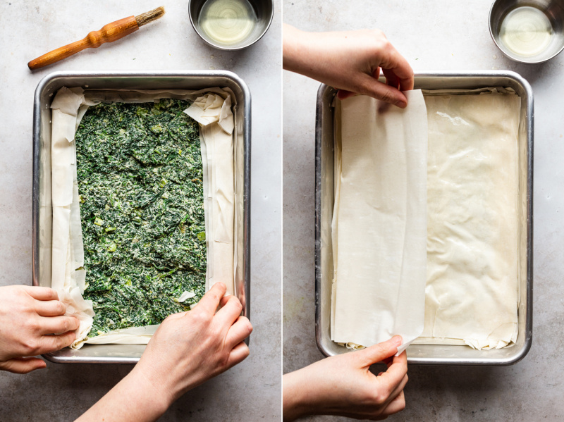 easy vegan spanakopita layering pastry