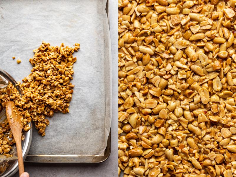 vegan peanut brittle forming