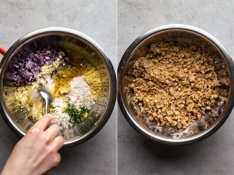 vegan spelt crackers mixing