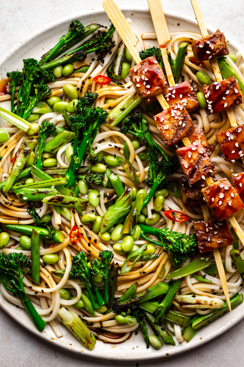 teriyaki tofu noodle salad close up