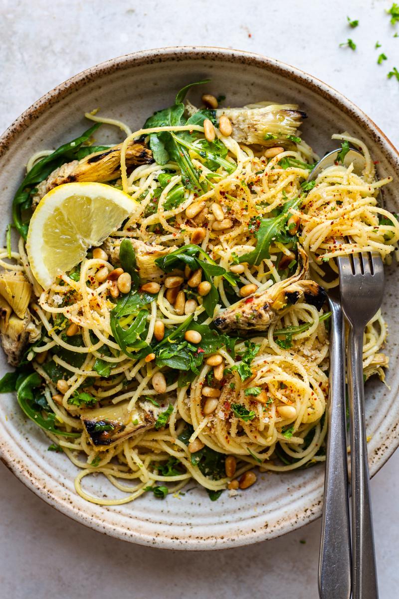 vegan artichoke pasta bowl less yellow