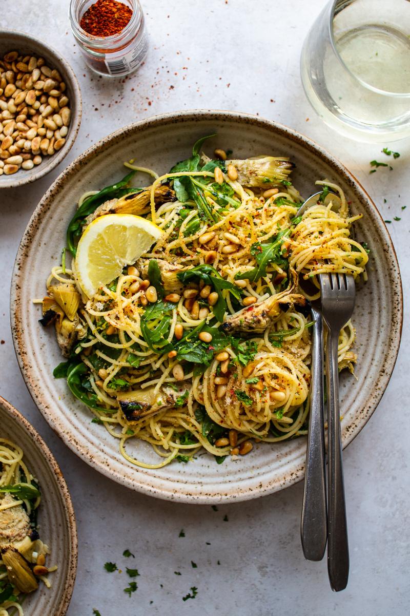 vegan artichoke pasta less yellow