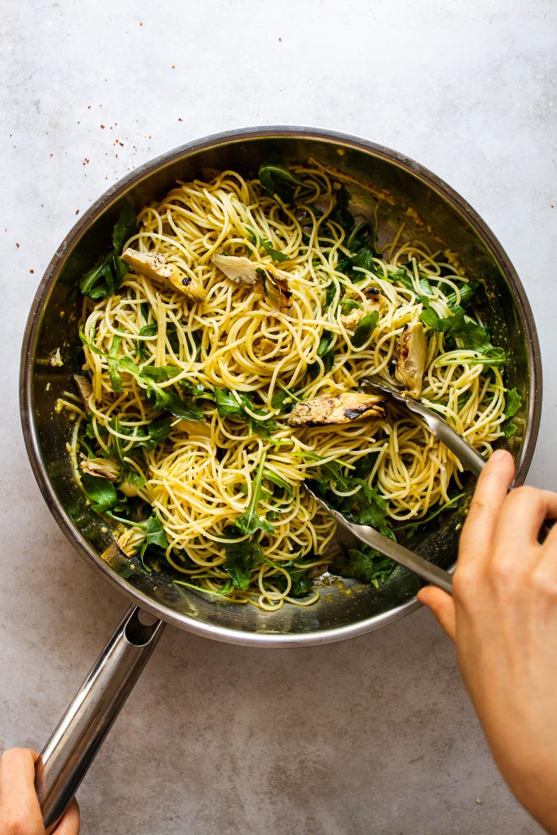 vegan artichoke pasta pan
