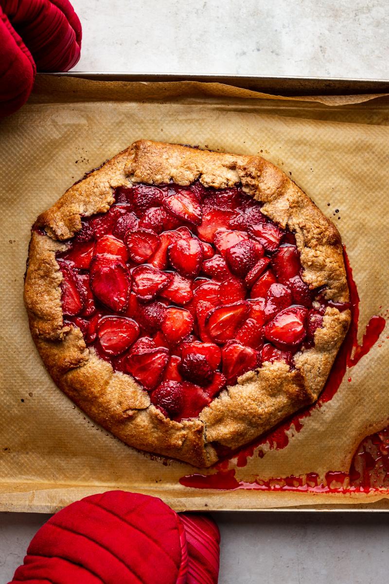 vegan strawberry galette baked