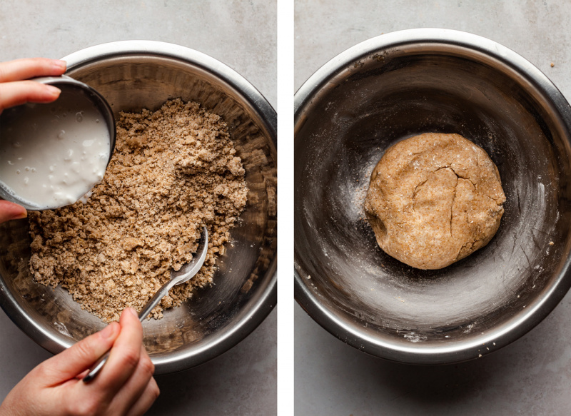vegan strawberry galette bringing dough together