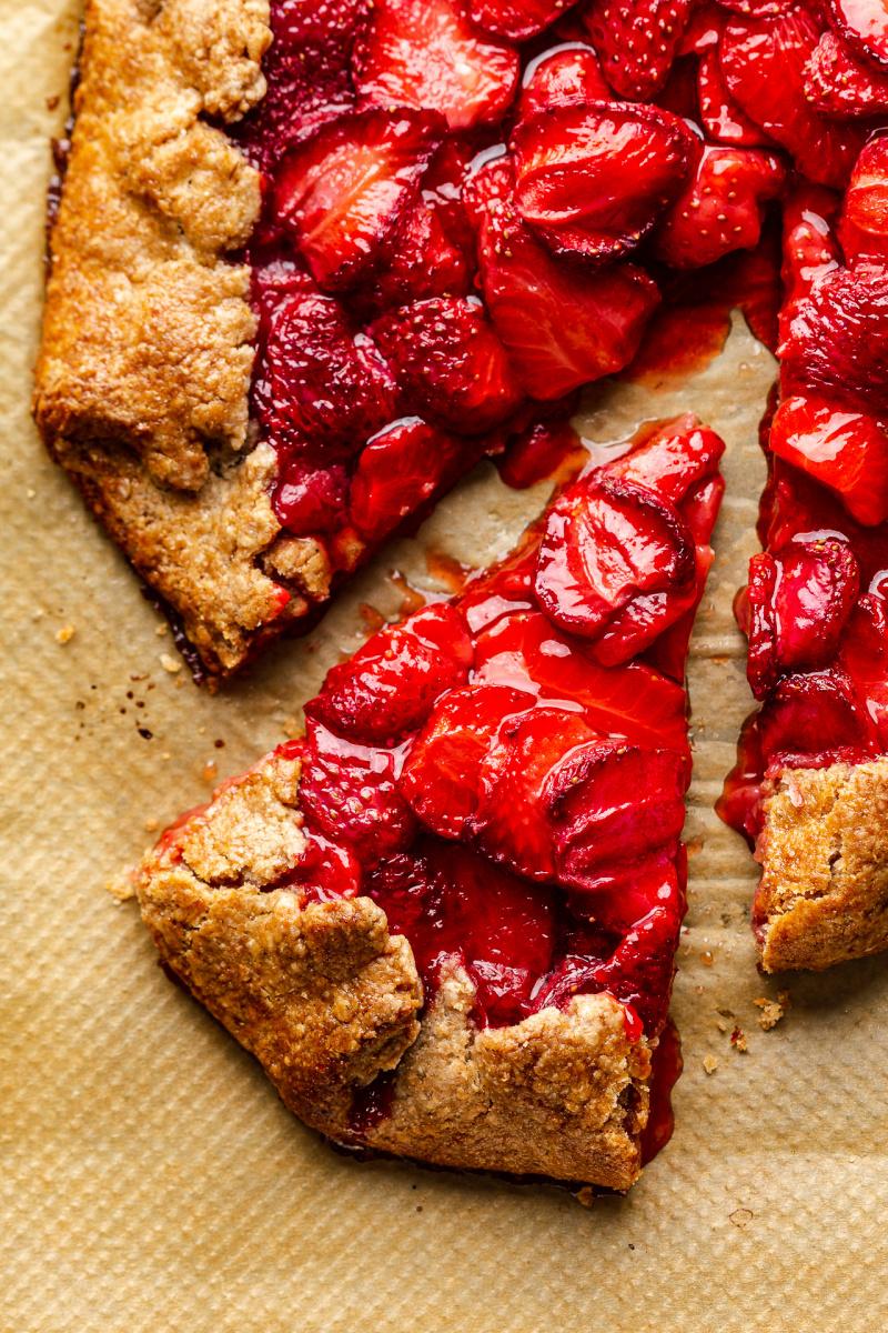 vegan strawberry galette slice