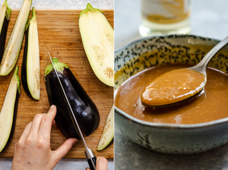 miso eggplant cutting and marinade