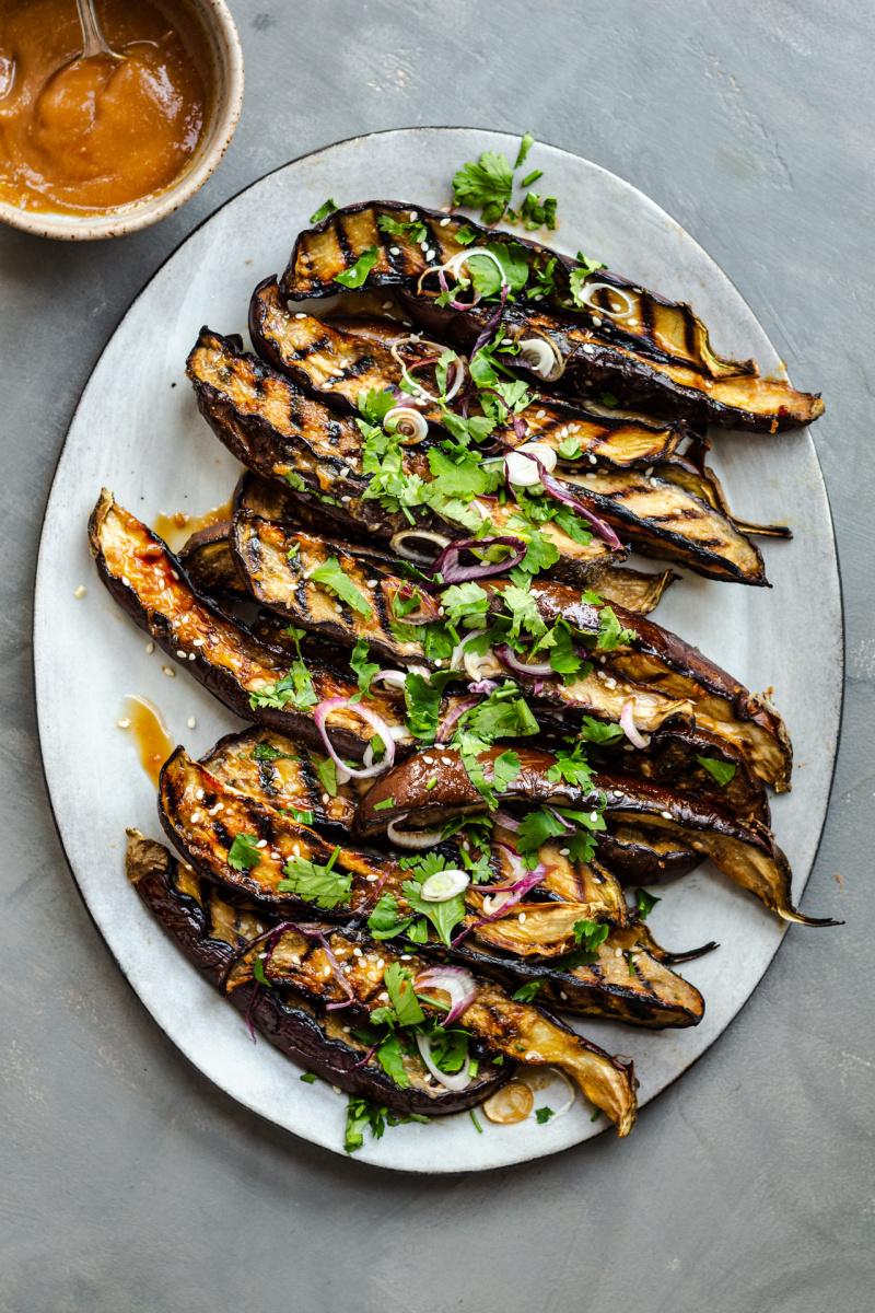 miso eggplant platter grey background