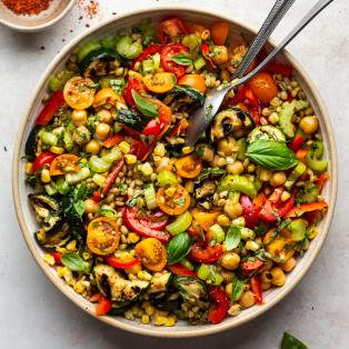 summer farro salad bowl