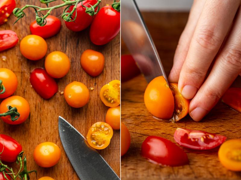 summer farro salad tomatoes