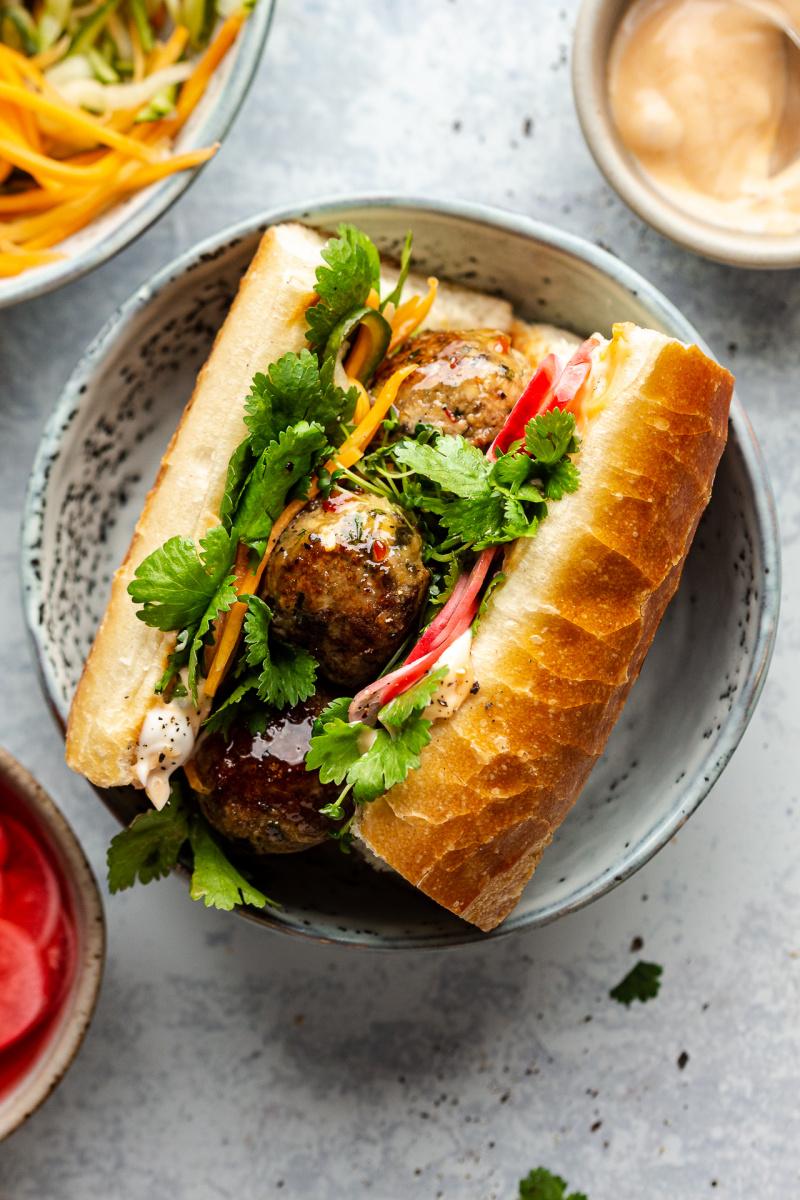 vegan banh mi lemongrass meatballs baguette