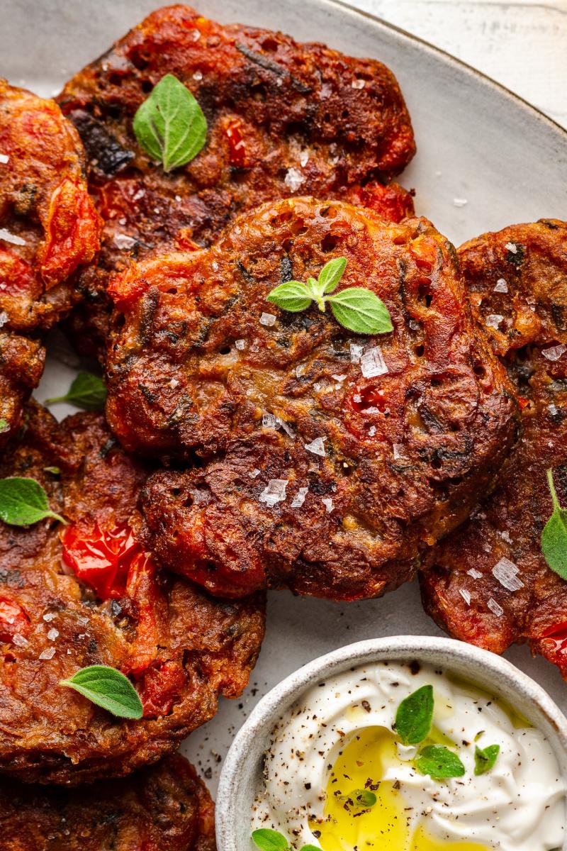 greek tomato fritters close