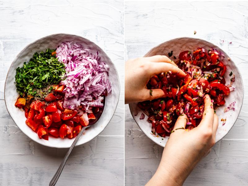 greek tomato fritters process