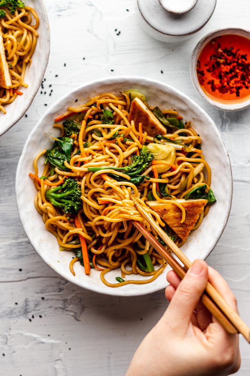 quick vegan spring onion noodles messy