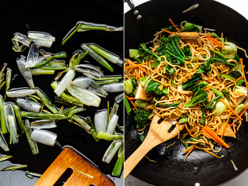 quick vegan spring onion noodles wok
