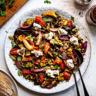 roasted aubergine salad