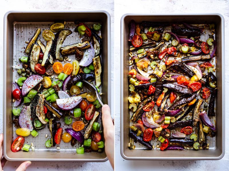roasted aubergine salad before after
