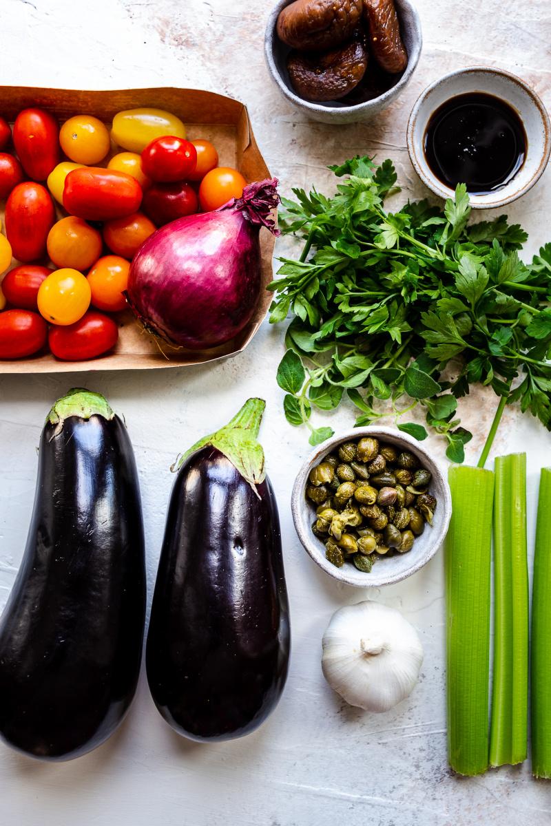roasted aubergine salad ingredients