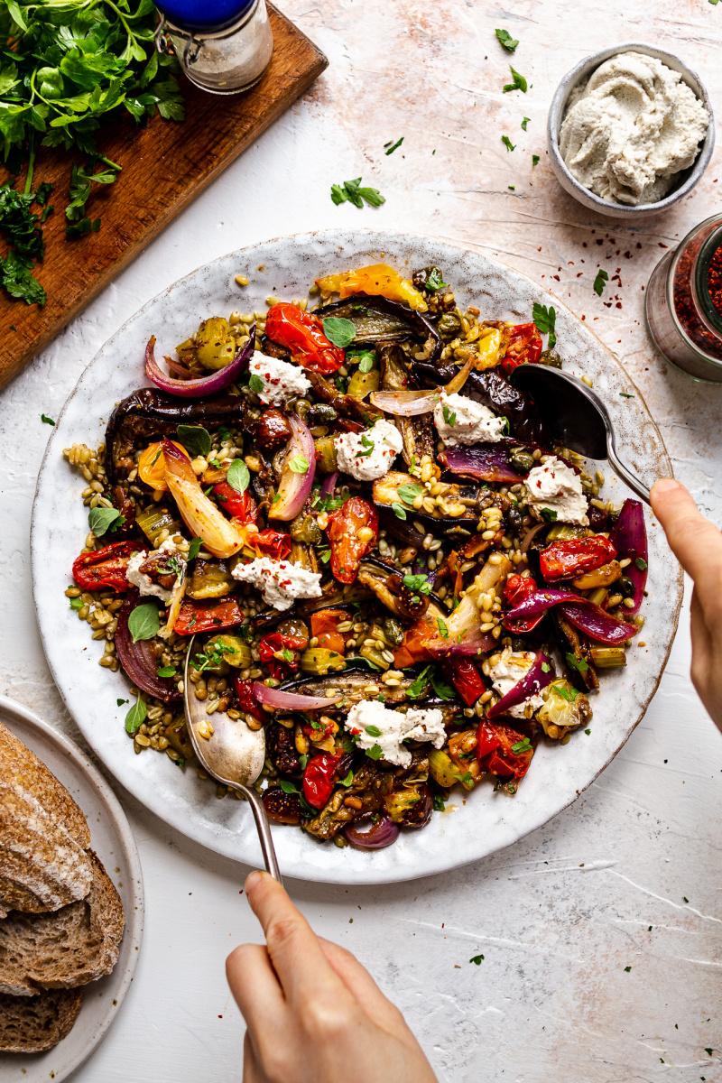 roasted aubergine salad plated