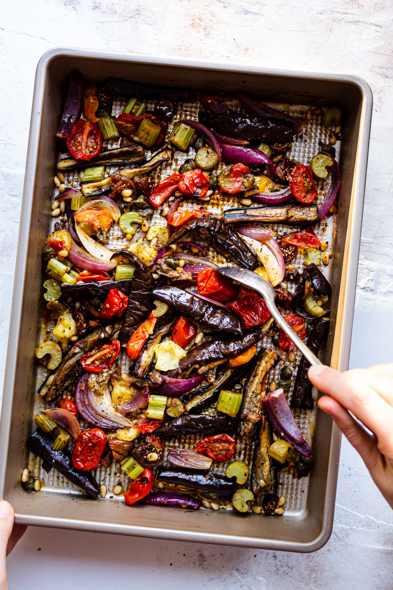 roasted aubergine salad ready