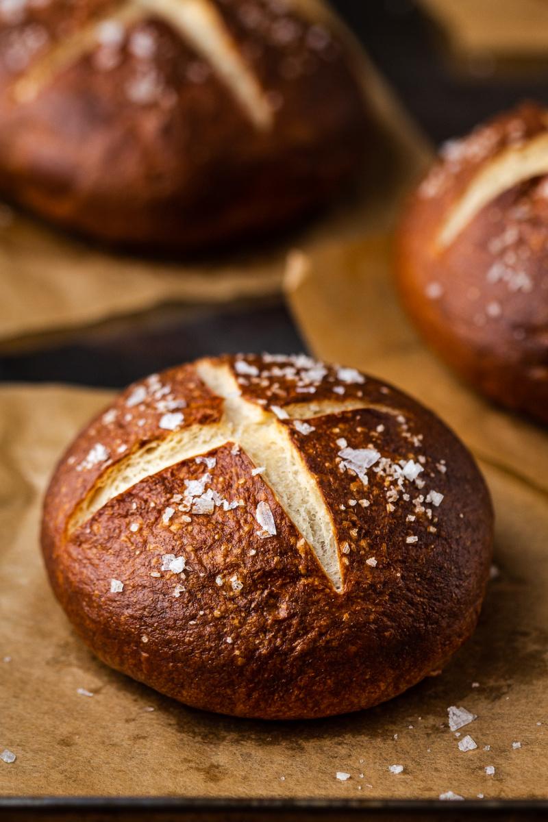 vegan pretzel buns baked