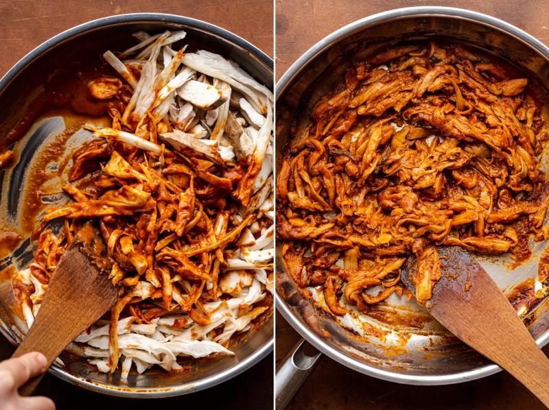 vegan pulled pork burgers mushrooms cooked