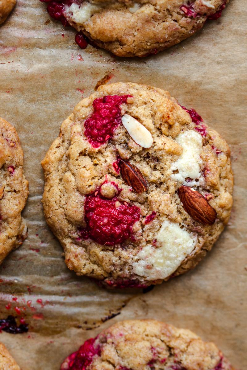 vegan white chocolate raspberry cookies