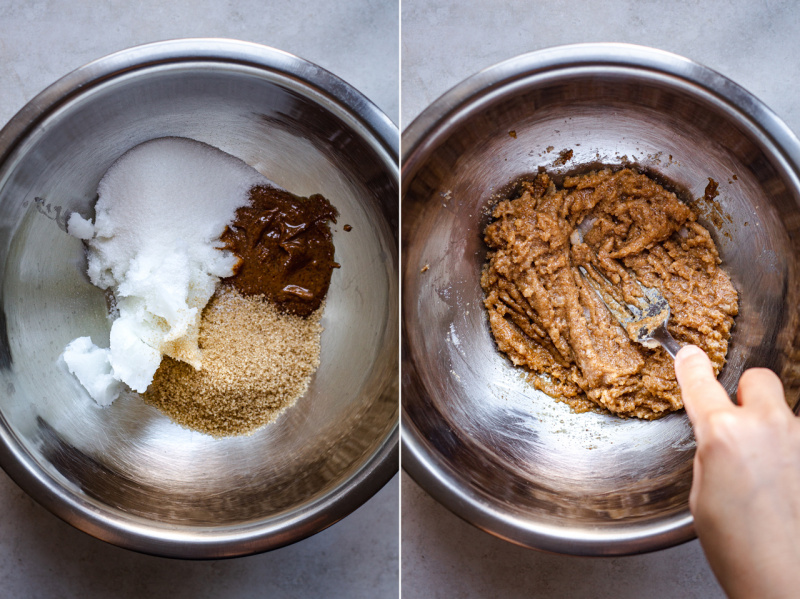 vegan white chocolate raspberry cookies process1
