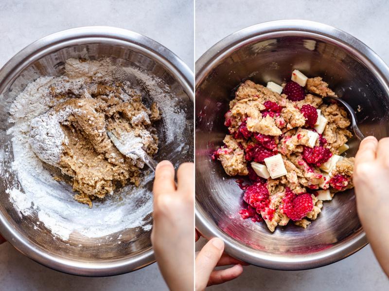 vegan white chocolate raspberry cookies process3