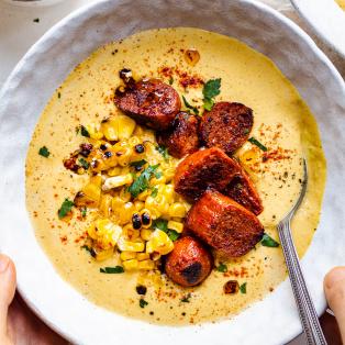vegan corn chowder chorizo portion