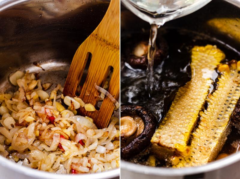 vegan ramen charred corn making