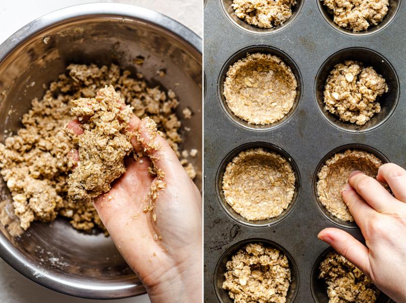 vegan granola cups making shells