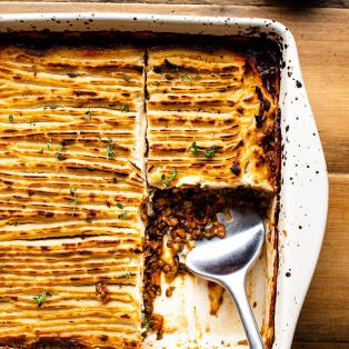 celeriac vegan sherpherds pie plating