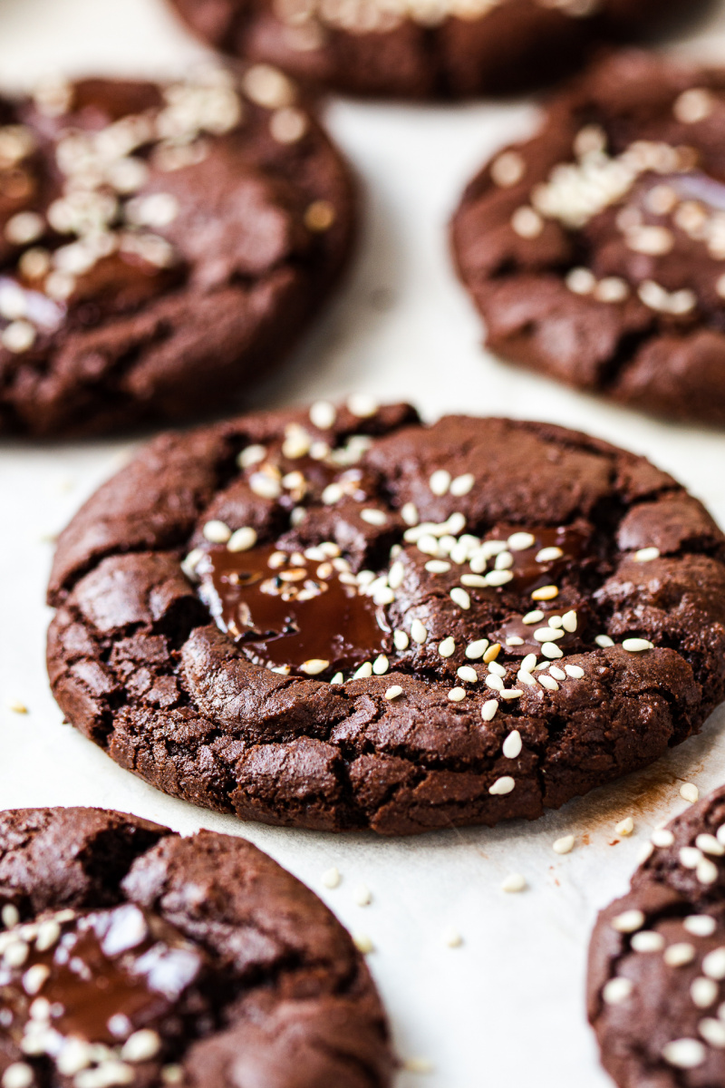 vegan chocolate cookies tahini side