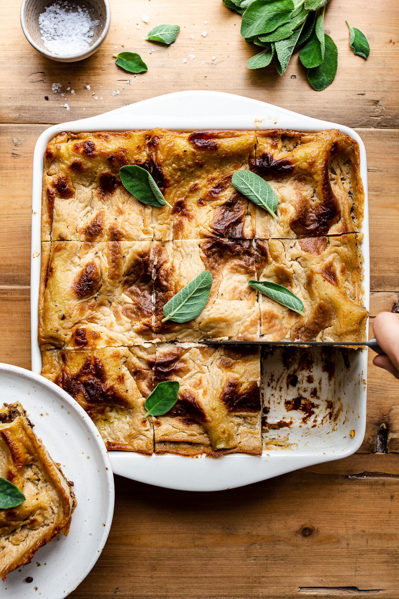 Vegan Lasagna With Pumpkin And Mushroom